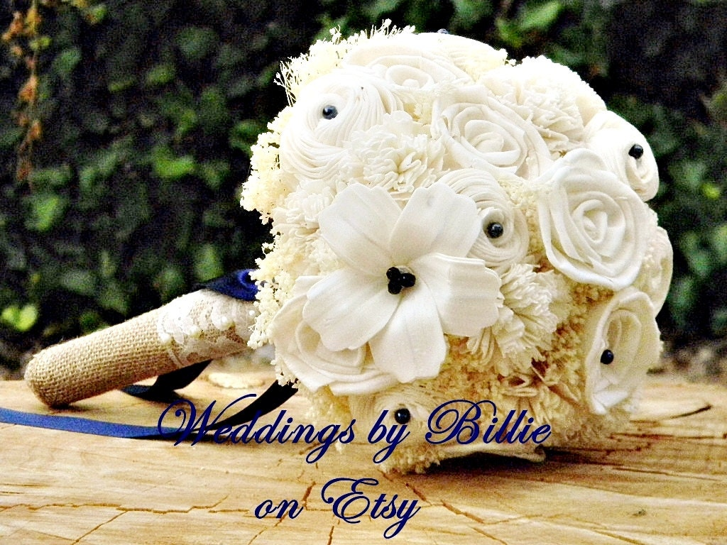 Ivory Navy Sola Bouquet Burlap and Lace Bouquet Ivory Navy