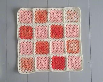 RTS Granny squares crochet layering baby blanket in cream,  peach and orange/ handmade posing blanket photo prop