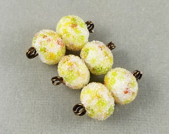 Citrus Squeeze Sugar - Frosted Lampwork Bead Pair Iced Sugared - Artist Handmade