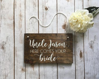 Uncle Here Comes The Bride Wooden Sign Ring Bearer Flower Girl Rustic Wedding Decor Spring Summer Fall Winter Wedding Used stuff
