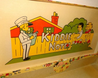 1940s 'Kiddie Notes' Box. Cardboard with paper litho box