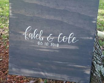 Wedding Guest Book - Personalized, Hand Lettered, Wood