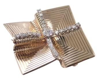 Retro 14K Yellow Gold Diamond Brooch