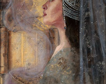 "The High Priestess - Guardian of The Mystery - Wisdom Keeper  - 8"" x 16"" Signed Limited Edition Giclee on Fine Art Paper"