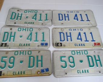 Choice Of 2 1980's  Ohio License Plates DH 411, DH59