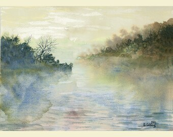 Landscape Painting Print foggy  River Watercolor Lake water Reflections with trees 7x10 Giclee