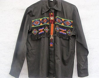 SouthWestern Beaded Women's Shirt Size 6  Perfect for Rodeo Time