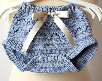 Knitting Pattern (pdf file) Baby Pants - diaper cover (sizes 1/3/6 months)