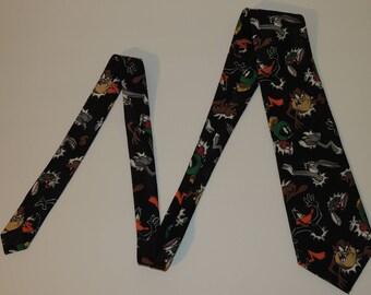 1994 Looney Tunes Mania Taz, Bugs Bunny, Daffy Duck, Marvin the Martian Mens Polyester Tie / Necktie