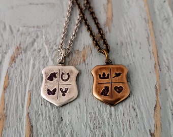 Personalized Shield Necklace, Custom Symbol Necklace, Coat of Arms Necklace, My Coat of Arms, Make Your Own Jewelry, Inspirational Necklace