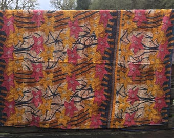 Reserved!! Vintage Kantha quilted cotton throw, twin