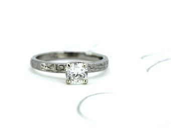 SALE moissanite engagement ring . unique engagement ring . alternative engagement ring . ready to ship size 6