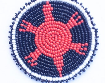 2 . 5 inch TURTLE BLACK Beaded Rosette, in the style of Native American beadwork