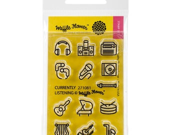Listening Music Planner Clear Stamps Headphones Stereo Radio Microphone Record Player Instruments Guitar Piano Drums Violin Planner Stamps