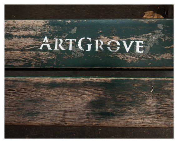Paris photography, graffiti, Art, Fine Art Photography 8x12 inch 13x19 inch France Artgrove street bench streetart green