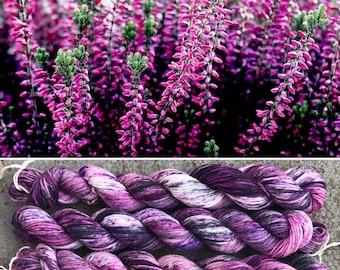 Scottish Heather 20g Miniskein, speckled merino nylon blend sock yarn