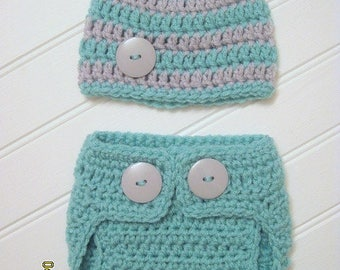 Diaper Cover, Hat, Photo Prop, Set, Aqua, Gray, baby hat, newborn prop, diaper cover set, striped hat, coming home outfit, boy or girl