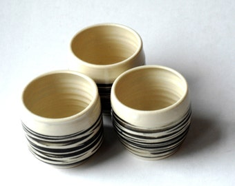 Ceramic cups,Yunomi, 3 mugs no handles, wine tumblers, espresso cups, striped mugs, pottery cups, ceramic cups