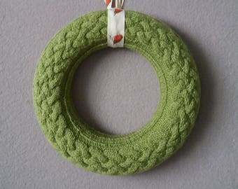 GetWoolly knitted Christmas wreath, soft olive green, cable knit