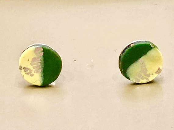 SJC10031 - Earrings - contemporary handmade green/yellow/silver polymer clay sterling silver studs