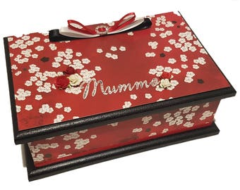 A Hint of the Orient Keepsake Box, Trinket Box, Treasure Box, Jewellery Box, Memory Box, Wooden Box, Personalised Box - Red & Black