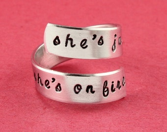She's Just A Girl and She's On Fire Ring - Twist Ring - Wrap Ring - Silver Ring - Size 6 Ring - Size 7 Ring - Inspirational Ring