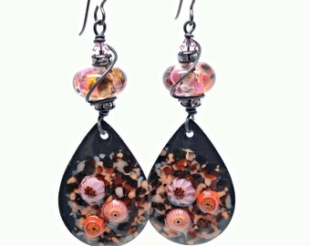 FREE Shipping - Mother's Day gift for her - dangle earrings - long earrings dangle - enamel jewelry - black earrings - Bridesmaid jewelry