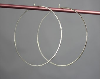 "Large 2"" Sterling Silver Hammered Texture Faceted Hoop Earrings Silver Hoops"