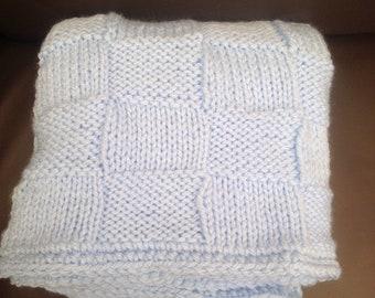 Baby Blue Baby Blanket - Chunky Handknit