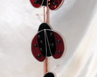 Lady Bug Plate Flower Stem, Rebar cover in Copper and Stained Glass