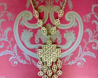 Vintage 1970s or 1960s Boho Gold cross Pendent Necklace with dangles