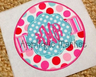 Machine Embroidery Design Applique Circle Scallop 2 INSTANT DOWNLOAD