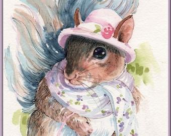 Childrens Art - Girly Squirrel Dressed Up - Original Watercolor plus Custom Matting - Nursery Art - Nature - Fantasy - Pink - Home Decor