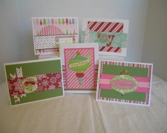 Holiday Greeting Cards, Handmand Christmas Cards, Set of 5 Holiday Cards, Christmas Card Assortment, Pink/Green/Red Holiday Cards