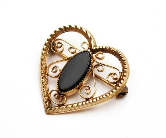 Gold plated  Onyx Heart Brooch pendant  -gold filigree  1/20 14kt Ge  signed DEC Dinah Hoyt Taylor  black gemstone