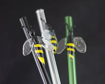 Honey Bee Glass Straw in Your Choice of Color