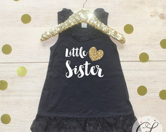Little Sister Dress / Girl Heart Gold Big Little Sister Sibling Set Outfit T-Shirt Tank Skirt Mint Pink Lace Glitter Sparkly Girls Toddler