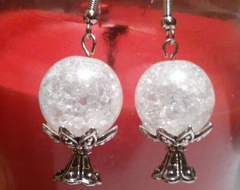 Crystal glass clear crystal ball on a bead cap stand earrings