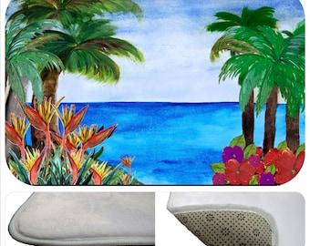 Caribbean Beach bathmat from my art