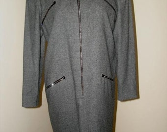 Vintage David HAYES gray zip dress rhinestones wool Nancy Reagan