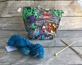 We Have A Hulk - Project Bag -- Drawstring Knitting Bag -- Yarn Bag -- Crochet Bag