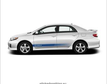 "Toyota Corolla lower panel door stripes vinyl graphics and decals kits 2012 1017 - ""Corolla Stripes"""