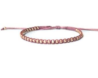 max. rose gold nuggets bracelet. adjustable wrap bracelet. thin gold bracelet. dainty bracelet.