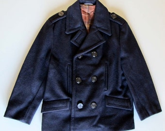 70s vintage navy coat  blue wool marine coat  sailor woman coat  french navy coat winter jacket  children coat anchor buttons squared lining