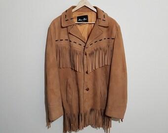 Vintage leather fringe jacket, 70 s fringe leather jacket, tan suede jacket, tassle jackets, 70 s coats, Mac mor