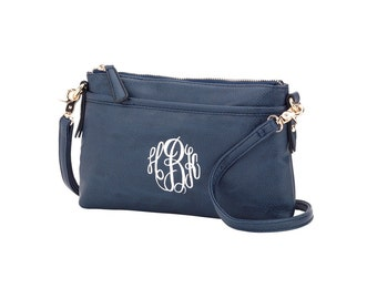 Navy Crossbody Bag with Monogram Leather Look in Navy Crossbody Purse, Navy Crossbody Purse, Navy Purse