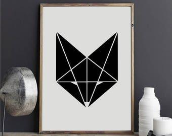 """Geometric Fox 1"" stickers"