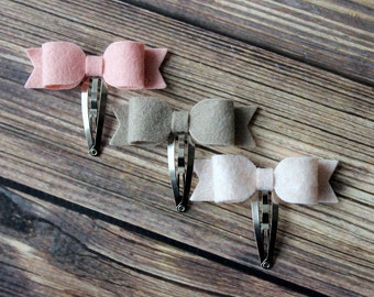 Felt bow snap clips - baby, toddler, girls hair clips - felt bow clips