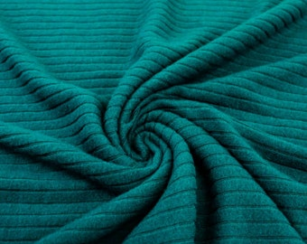 Teal Cloud Brush Rib Sweater Knit Fabric - 1 Yard Style 6372