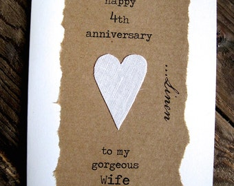 4th Wedding Anniversary Card LINEN Traditional Gift Handmade Keepsake Wife Husband Four Years Recycled Upcycled Size A6: 15x10.5cm
